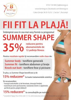 Fii fit la plaja! Programul Summer Shape, la sala-concept B.Energy Body & Mind Fitness